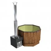 Купель KIRAMI из термодерева с выносной печью Premium Optima S Cube TW, Olive (Кирами, Финляндия)